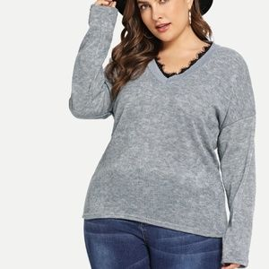 Sweaters - Lace V-Neck Sweater
